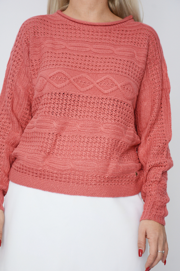 Salmon Cable Knit Jumper