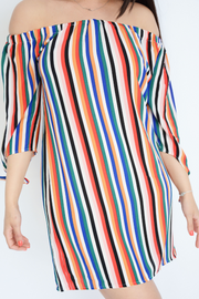 Rainbow Stripe Crepe Bardot Dress
