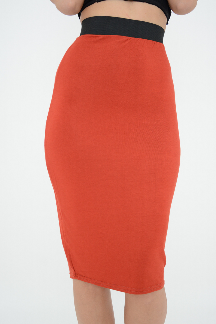 Rust Jersey Fitted Knee Pencil Skirt