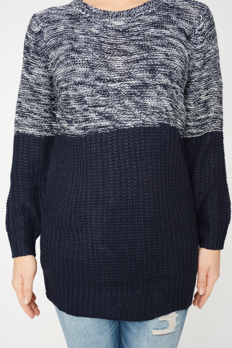 Navy Contrast Chunky Knit Jumper