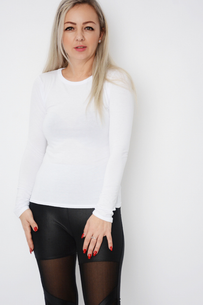 White Fitted Basic Long Sleeve top