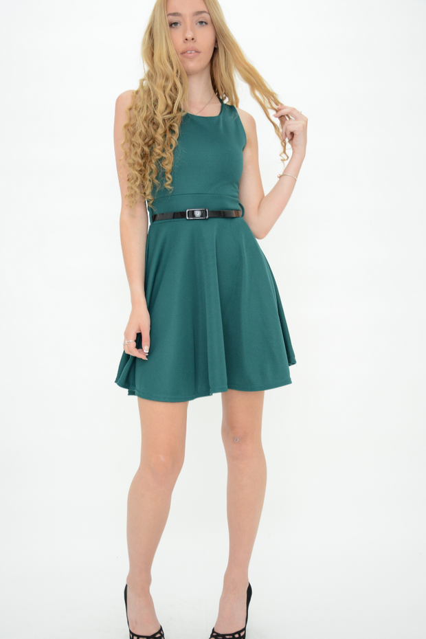 Green Belted Fit and Flared Mini Dress