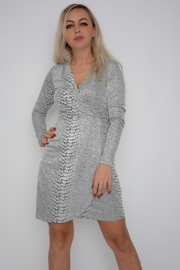 French Connection Jacquard Wrap Neck Shift Dress