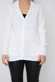 White Soft Knit Button Cardigan