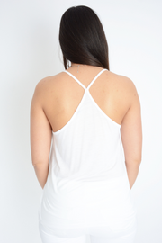 White Cross Back Cami Top
