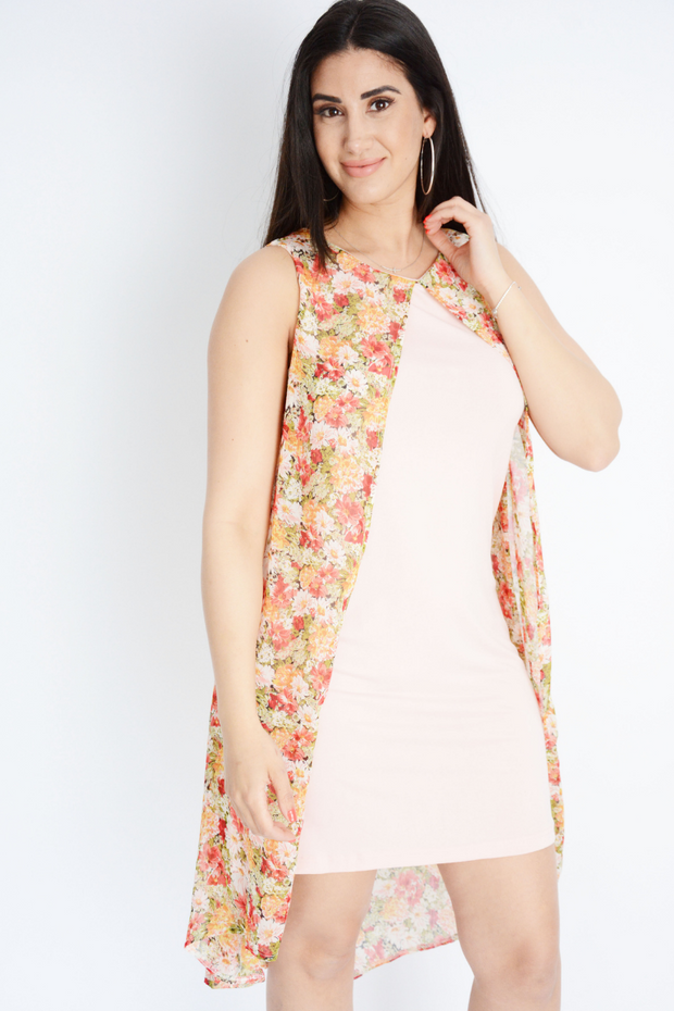 Pink Paisley Chiffon 2 Layer Shift Dress