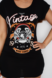 Black Vintage Logo Jersey Dress