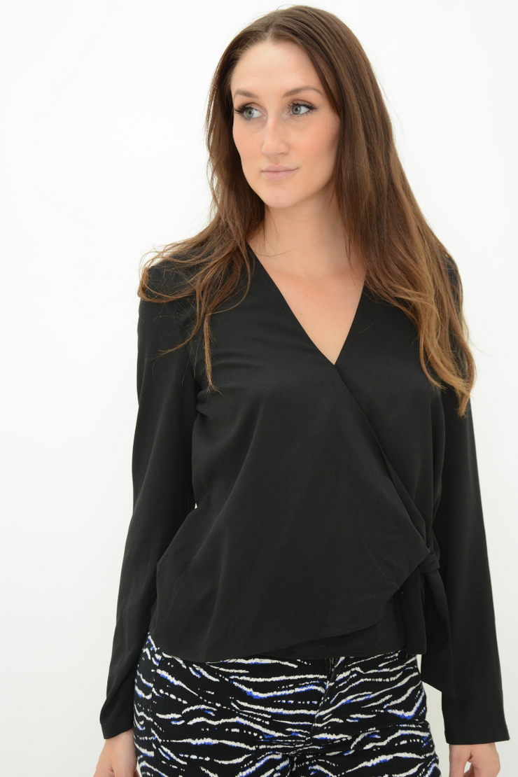 French Connection Black Wrap Self Tie Blouse