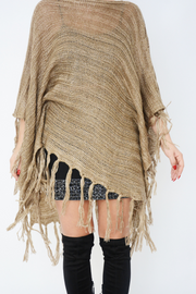 Brown Shimmer Asymmetric Knit Fringe Poncho