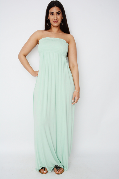 Mint Green Shirred Jersey Bandeau Maxi Dress