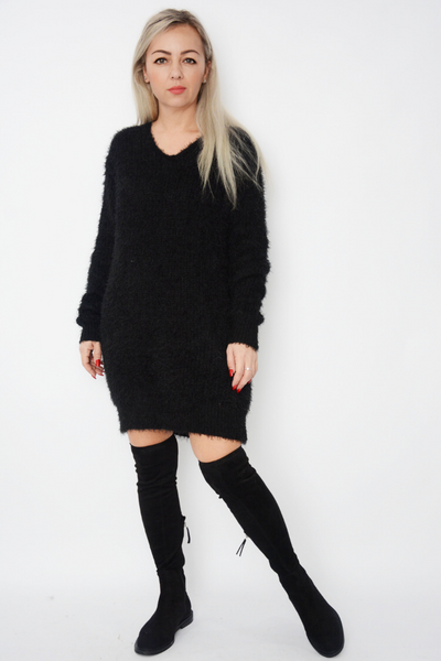 Black Eyelash Soft Fluffy Knit Jumper Dress
