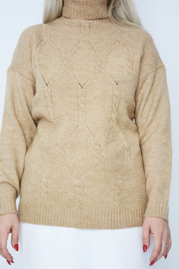 Camel Cable Knit Roll Neck Jumper