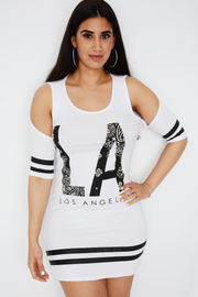 LA Logo Cut Out Shoulders Longline Top