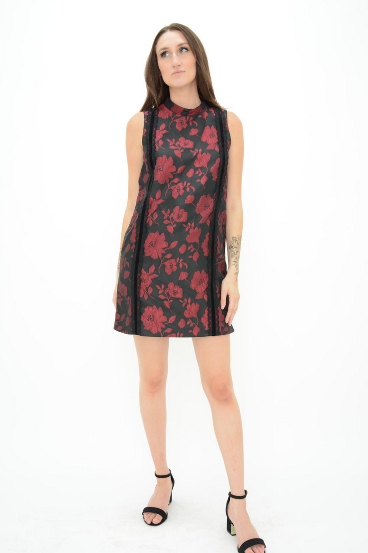 FRENCH CONNECTION FLORAL LACE MOCK NECK SHIFT DRESS
