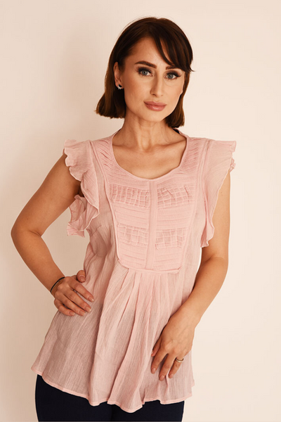 Pink Blush Frill Pleated Top