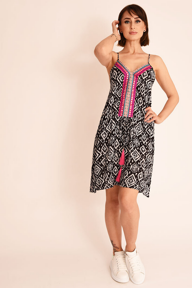 Black Geo Print Racer Back Slip Dress