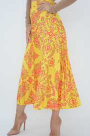 Yellow Floral Print Pleated Midi Skirt