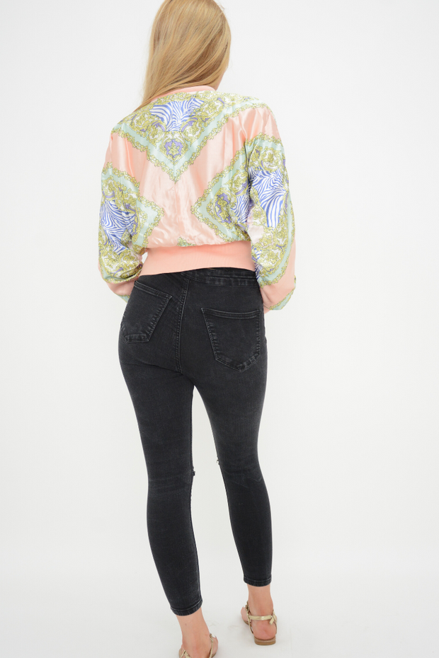 Pink Silky Look Light Bomber Jacket