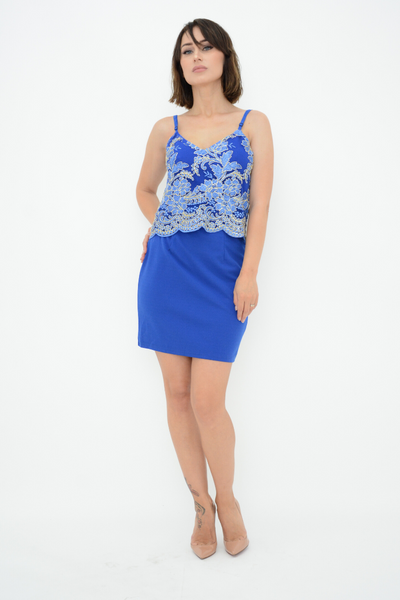 Blue Shimmer Embroidered Lace Mini Dress