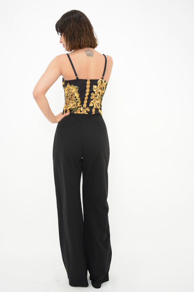 Black Printed Straight Leg Jumpsuit