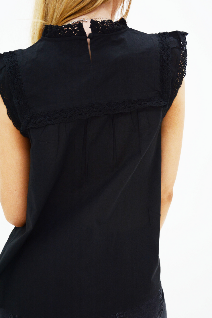 Black Broderie Anglaise Smock Top