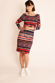 Multi Geo Print Jersey Bodycon Dress