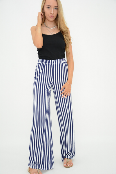 Navy Stripes Wide Leg Trousers