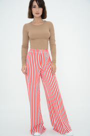Red Stripes Wide Leg Trousers