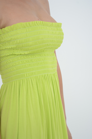 Lime Shirred Jersey Bandeau Maxi Dress