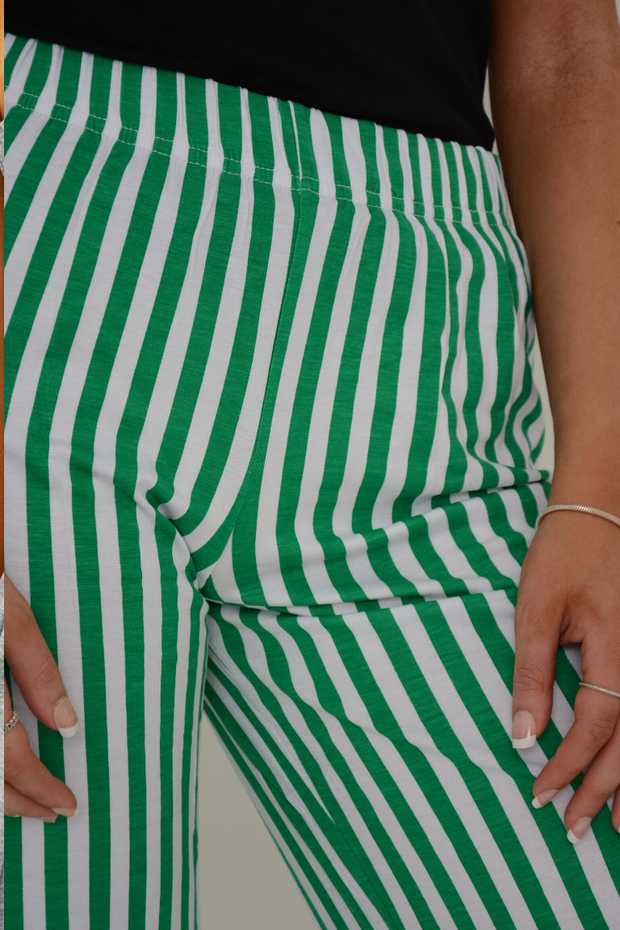 Green Stripes Wide Leg Casual Trousers