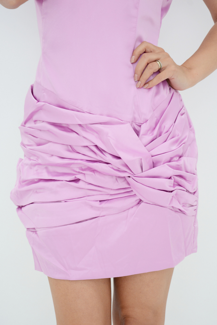Violet Satin Ruched Mini Bodycon Dress