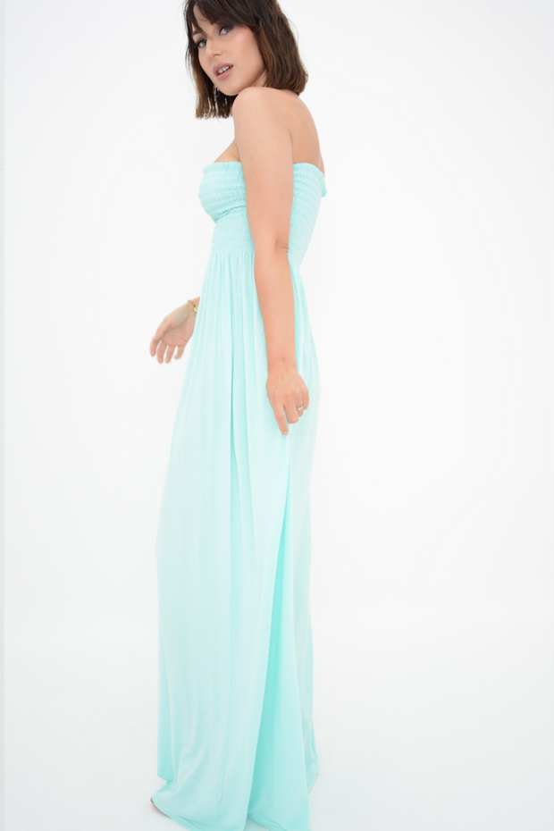 Turquoise Shirred Jersey Bandeau Maxi Dress