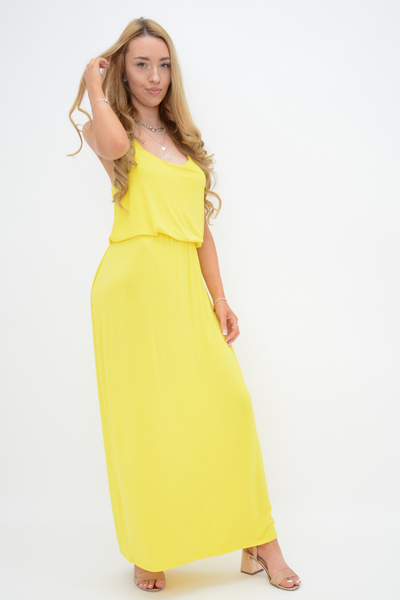 Yellow Racer Back Jersey Maxi Dress
