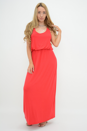 Red Racer Back Jersey Maxi Dress