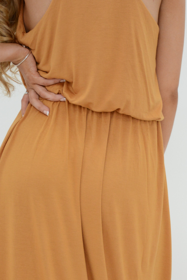 Camel Racer Back Jersey Maxi Dress