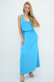 Turquoise Racer Back Jersey Maxi Dress