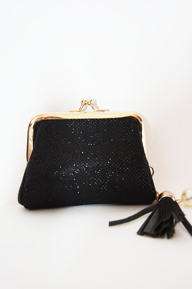 Black Shimmer Clasp Closure Coin Purse