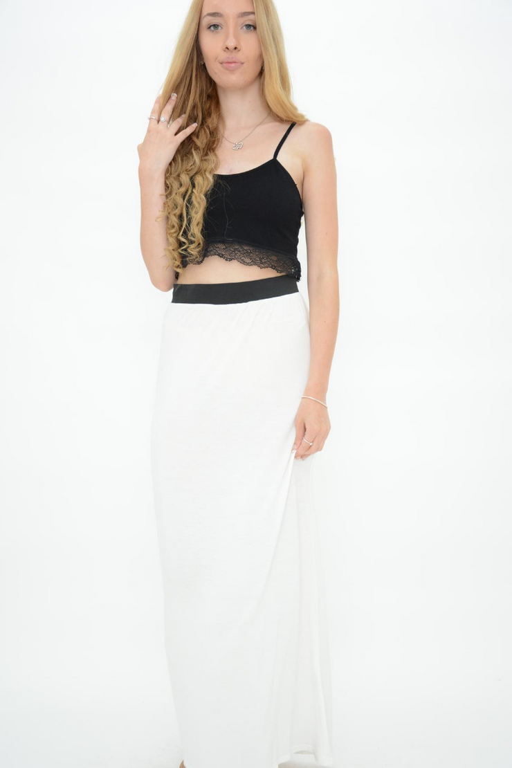 White Jersey Casual Maxi Skirt