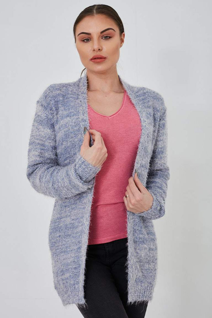 Blue Open Front Knitted Eyelash Long Line Cardigan - Lessthan10pounds