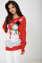 Red Scoop Neck Long Sleeve Xmas Festive Knitwear Jumper - Lessthan10pounds