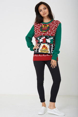 Multi Colour Scoop Neck Long Sleeve Xmas Festive Jumper - Lessthan10pounds