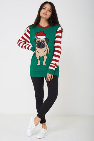 Green Crew Neck Long Sleeve Xmas Festive Jumper - Lessthan10pounds