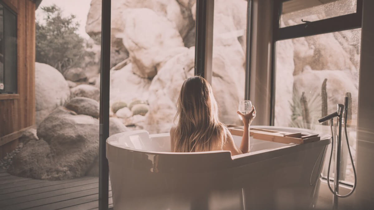Relax with a warm bath and glass of wine
