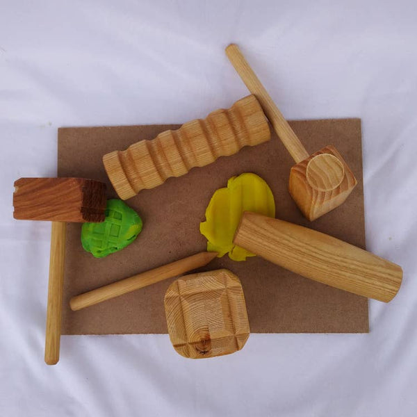Play Dough Wooden Tools Set with Two Mats, by Toy Maker of Lunenburg