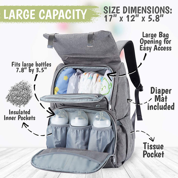 KeaBabies Diaper Bag Backpack - Classic Gray