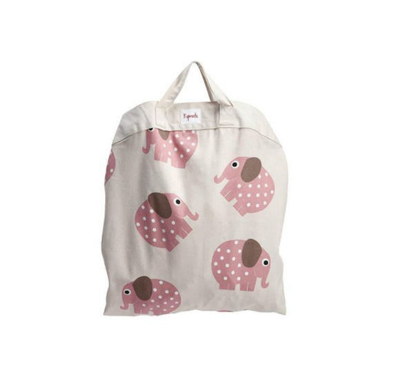 3 Sprouts Roll Up Play Mat Bag - Pink Elephant