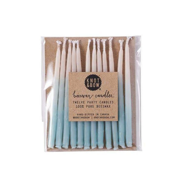 Knot & Bow Aqua Ombre Beeswax Birthday Candles