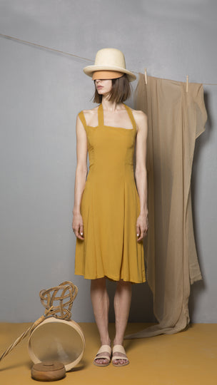 2WO+1NE=2 Limonite Ochre Viscose Dress