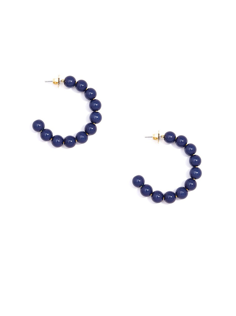 Beaded Ball Hoop - Navy - Cityhome