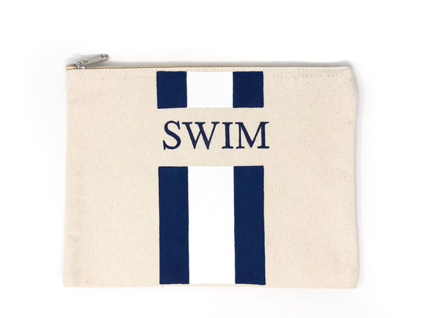 Canvas Pouch with Hand Painted SWIM - Cityhome